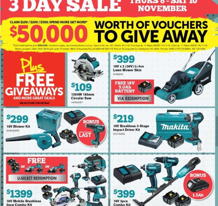 MAKITA THREE DAY SALE – NOVEMBER 2018